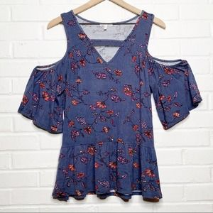 Maurices Blue Floral Cold Shoulder Top Small Boho